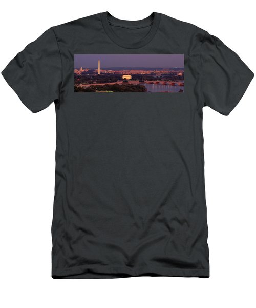 Usa, Washington Dc, Aerial, Night Men's T-Shirt (Slim Fit) by Panoramic Images