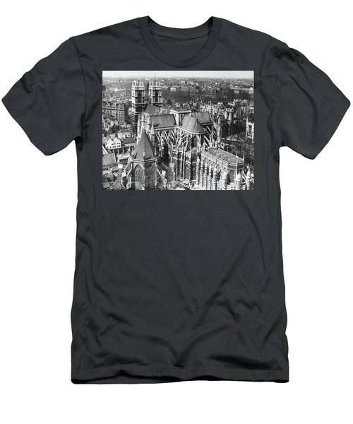 Westminster Abbey In London Men's T-Shirt (Slim Fit) by Underwood Archives