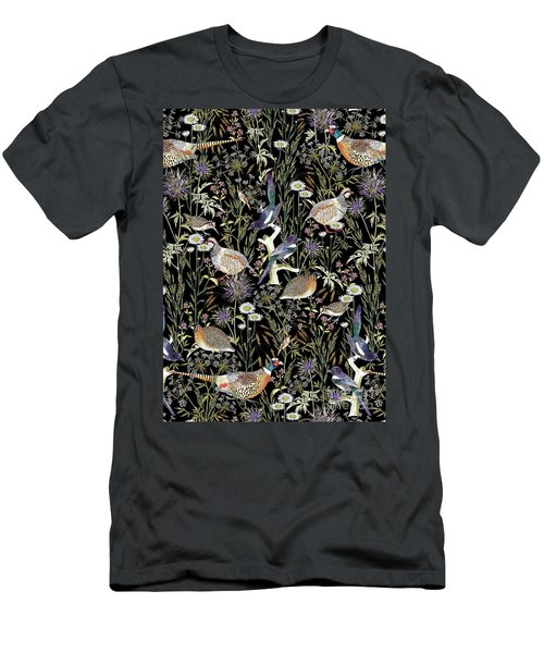 Woodland Edge Birds Men's T-Shirt (Slim Fit) by Jacqueline Colley