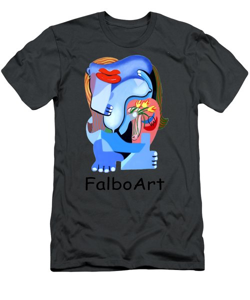Blue Nude With Tulips Men's T-Shirt (Slim Fit) by Anthony Falbo