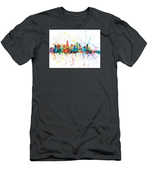 Los Angeles California Skyline Men's T-Shirt (Slim Fit) by Michael Tompsett