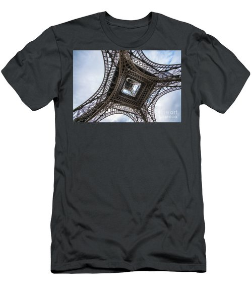 Abstract Eiffel Tower Looking Up 2 Men's T-Shirt (Slim Fit) by Mike Reid