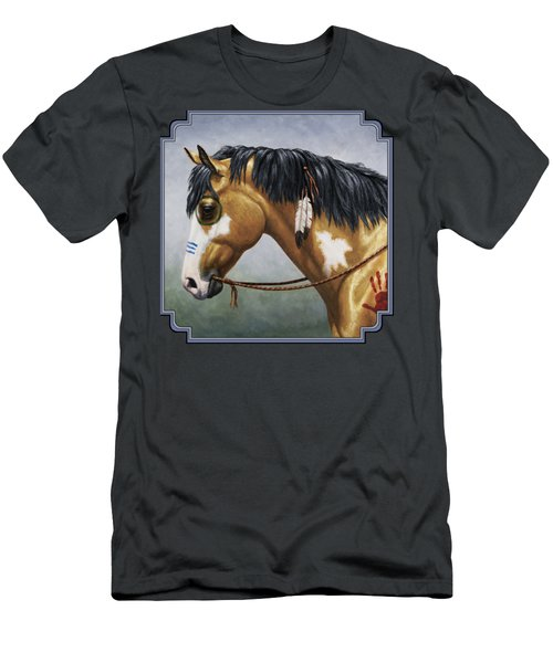Buckskin Native American War Horse Men's T-Shirt (Slim Fit) by Crista Forest
