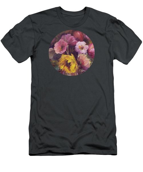 Abundance- Floral Painting Men's T-Shirt (Slim Fit) by Mary Wolf