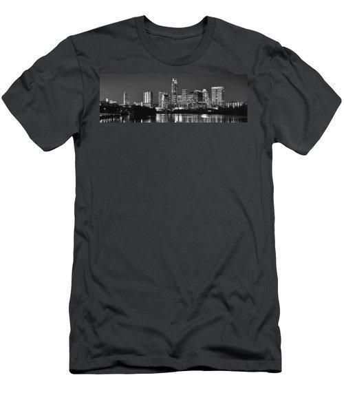 Austin Skyline At Night Black And White Bw Panorama Texas Men's T-Shirt (Slim Fit) by Jon Holiday