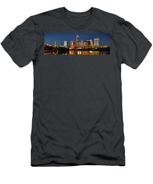 Austin Skyline At Night Color Panorama Texas Men's T-Shirt (Slim Fit) by Jon Holiday