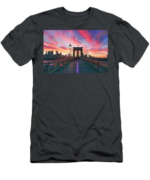 Brooklyn Sunset Men's T-Shirt (Slim Fit) by Rick Berk