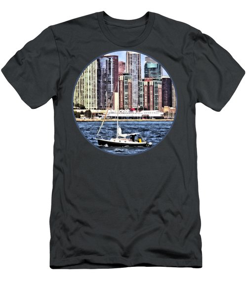 Chicago Il - Sailing On Lake Michigan Men's T-Shirt (Slim Fit) by Susan Savad