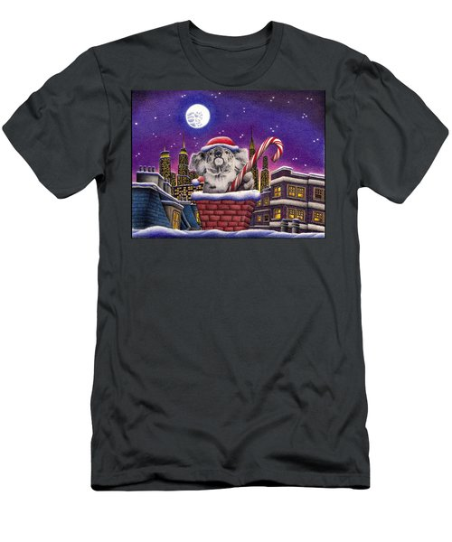 Christmas Koala In Chimney Men's T-Shirt (Slim Fit) by Remrov