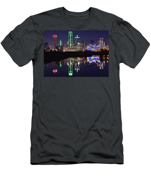 Dallas Reflecting At Night Men's T-Shirt (Slim Fit) by Frozen in Time Fine Art Photography