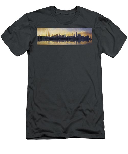 Fire In The Sky Chicago At Sunset Men's T-Shirt (Slim Fit) by Scott Norris