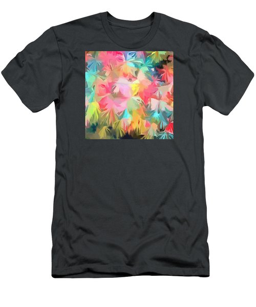 Fireworks Floral Abstract Square Men's T-Shirt (Slim Fit) by Edward Fielding