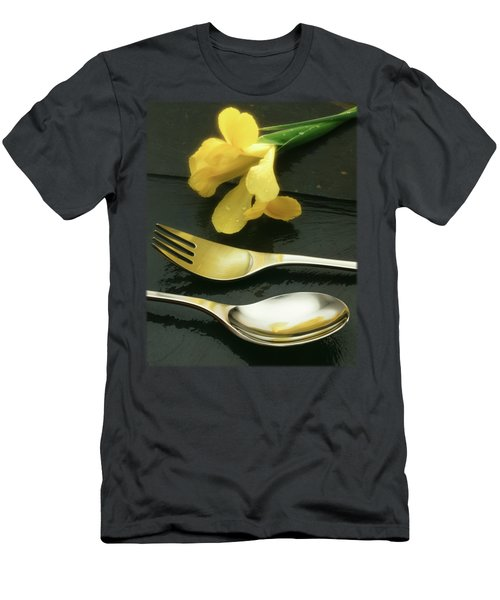 Flowers On Slate Men's T-Shirt (Slim Fit) by Jon Delorme