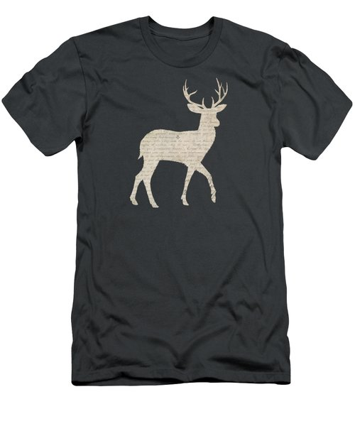 French Script Stag Men's T-Shirt (Slim Fit) by Amanda Lakey