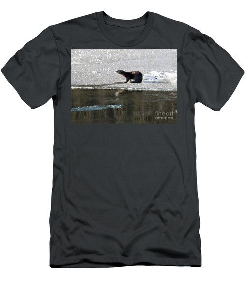 Frosty River Otter  Men's T-Shirt (Slim Fit) by Mike Dawson