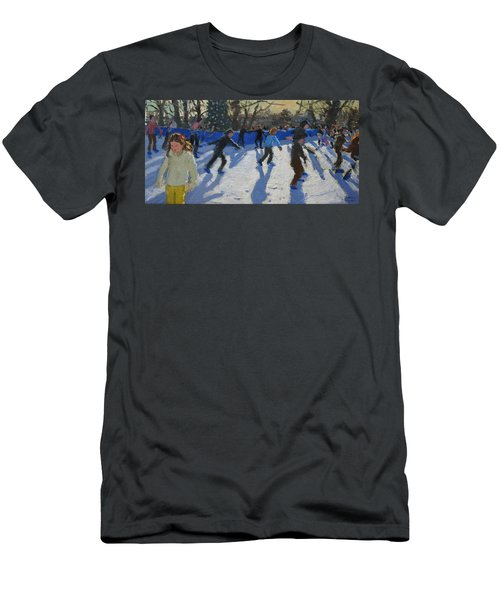 Ice Skaters At Christmas Fayre In Hyde Park  London Men's T-Shirt (Slim Fit) by Andrew Macara