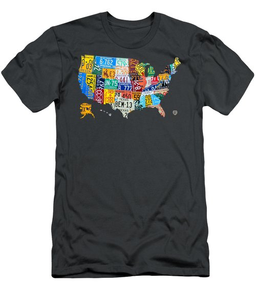 License Plate Map Of The United States Men's T-Shirt (Slim Fit) by Design Turnpike