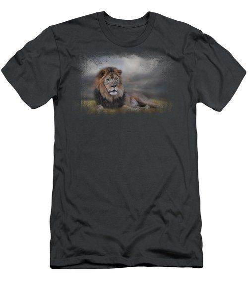 Lion Waiting For The Storm Men's T-Shirt (Slim Fit) by Jai Johnson