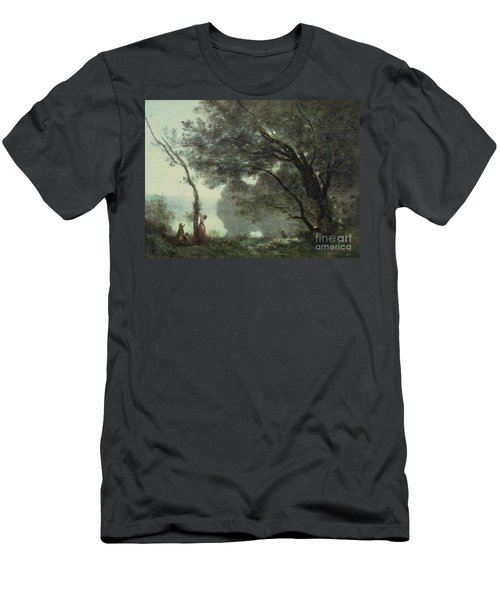 Recollections Of Mortefontaine Men's T-Shirt (Slim Fit) by Jean Baptiste Corot