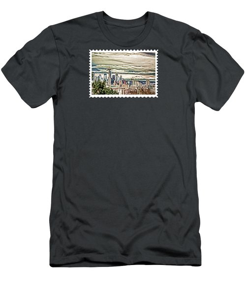 Seattle Skyline In Fog And Rain Men's T-Shirt (Slim Fit) by Elaine Plesser