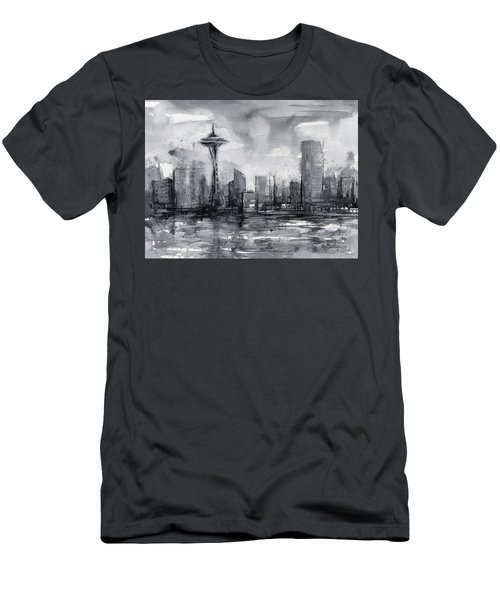 Seattle Skyline Painting Watercolor  Men's T-Shirt (Slim Fit) by Olga Shvartsur