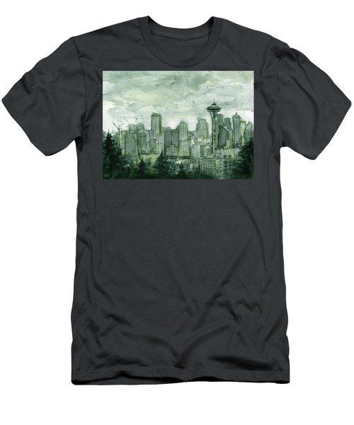 Seattle Skyline Watercolor Space Needle Men's T-Shirt (Slim Fit) by Olga Shvartsur