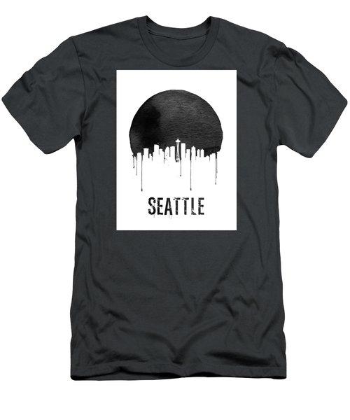Seattle Skyline White Men's T-Shirt (Slim Fit) by Naxart Studio