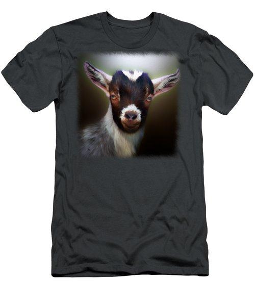 Skippy - Goat Portrait Men's T-Shirt (Slim Fit) by Linda Koelbel
