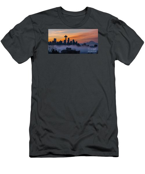 Sunrise Seattle Skyline Above The Fog Men's T-Shirt (Slim Fit) by Mike Reid