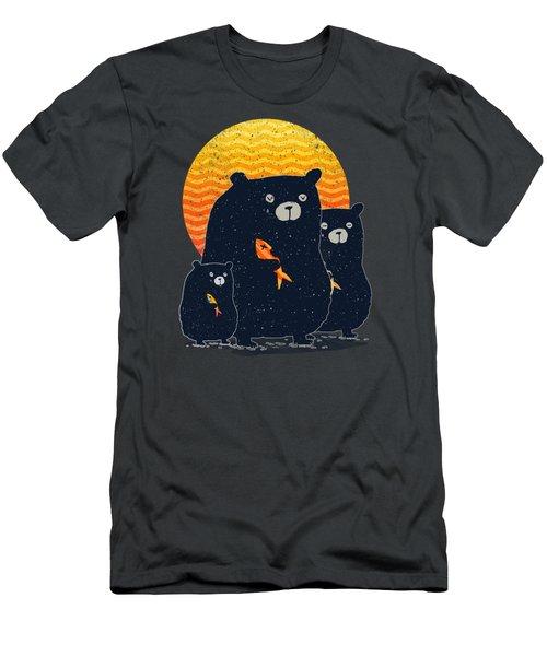 Sunset Bear Family Men's T-Shirt (Slim Fit) by Illustratorial Pulse