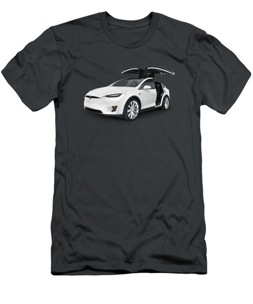 Tesla Model X Luxury Suv Electric Car With Open Falcon-wing Doors Art Photo Print Men's T-Shirt (Slim Fit) by Oleksiy Maksymenko