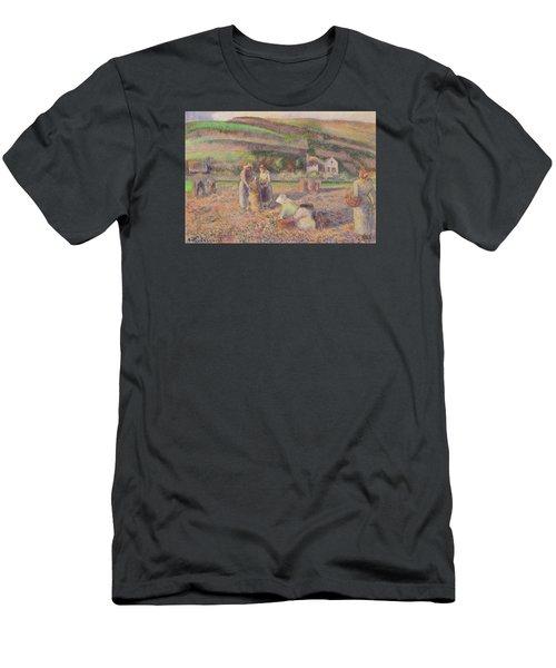 The Potato Harvest Men's T-Shirt (Slim Fit) by Camille Pissarro