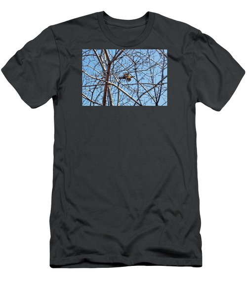 The Ruffed Grouse Flying Through Trees And Branches Men's T-Shirt (Slim Fit) by Asbed Iskedjian
