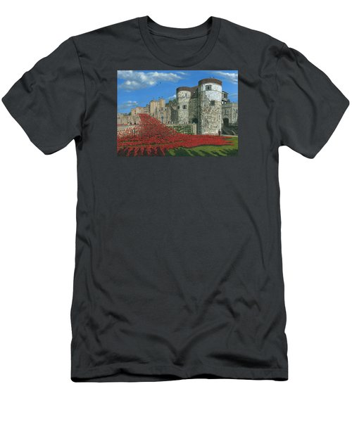 Tower Of London Poppies - Blood Swept Lands And Seas Of Red  Men's T-Shirt (Slim Fit) by Richard Harpum