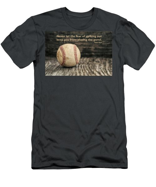 Vintage Baseball Babe Ruth Quote Men's T-Shirt (Slim Fit) by Terry DeLuco