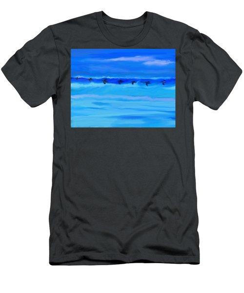 Vol De Pelicans Men's T-Shirt (Slim Fit) by Aline Halle-Gilbert