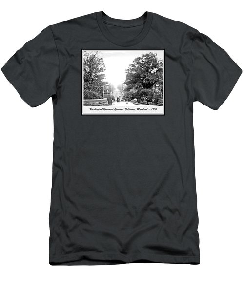 Men's T-Shirt (Slim Fit) featuring the photograph Washington Monument Grounds Baltimore 1900 Vintage Photograph by A Gurmankin