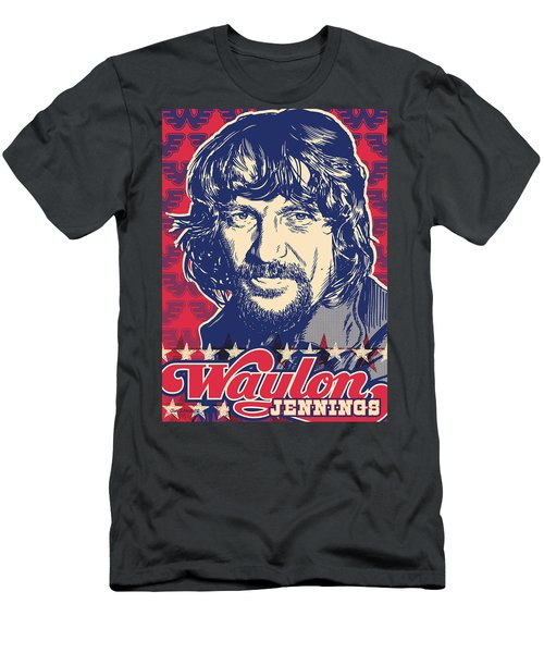 Waylon Jennings Pop Art Men's T-Shirt (Slim Fit) by Jim Zahniser