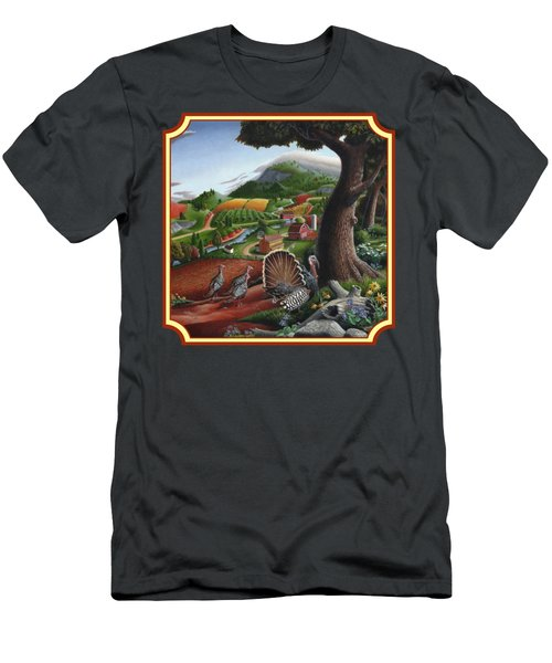 Wild Turkeys In The Hills Country Landscape - Square Format Men's T-Shirt (Slim Fit) by Walt Curlee