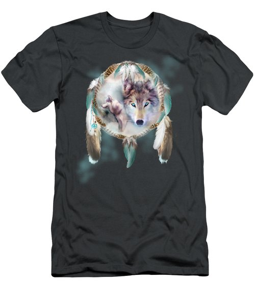 Wolf - Dreams Of Peace Men's T-Shirt (Slim Fit) by Carol Cavalaris