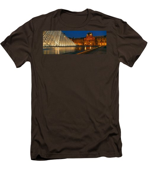 Pyramid At A Museum, Louvre Pyramid Men's T-Shirt (Slim Fit) by Panoramic Images