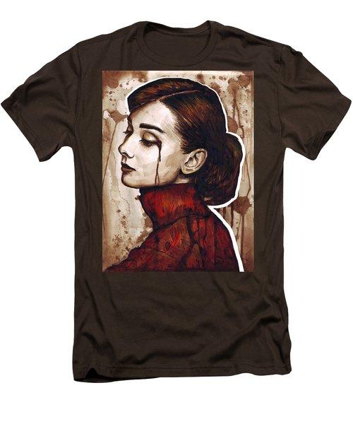 Audrey Hepburn Portrait Men's T-Shirt (Slim Fit) by Olga Shvartsur