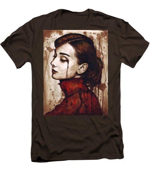 Audrey Hepburn - Quiet Sadness Men's T-Shirt (Slim Fit) by Olga Shvartsur