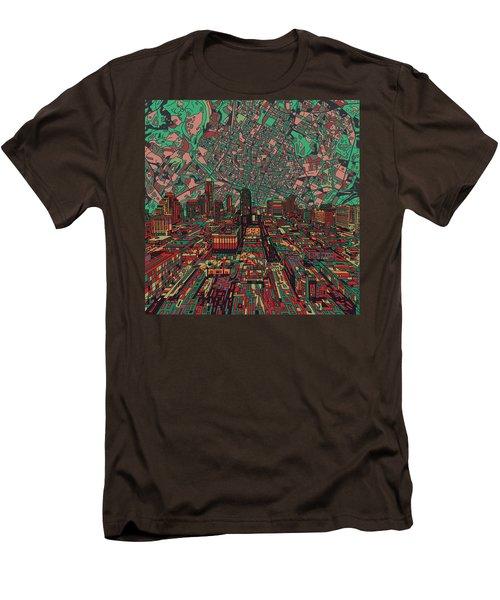 Austin Texas Vintage Panorama 3 Men's T-Shirt (Slim Fit) by Bekim Art