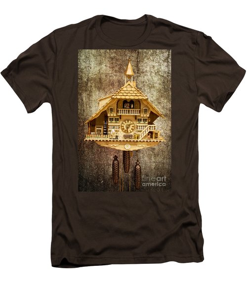 Black Forest Figurine Clock Men's T-Shirt (Slim Fit) by Heiko Koehrer-Wagner