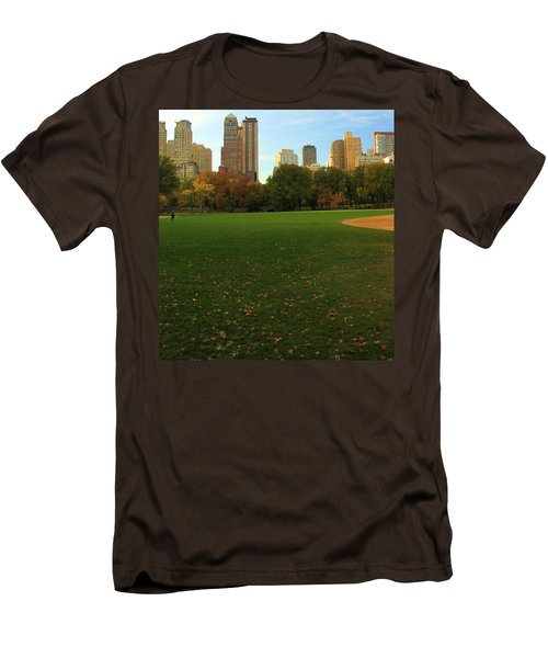 Central Park In Autumn Men's T-Shirt (Slim Fit) by Dan Sproul