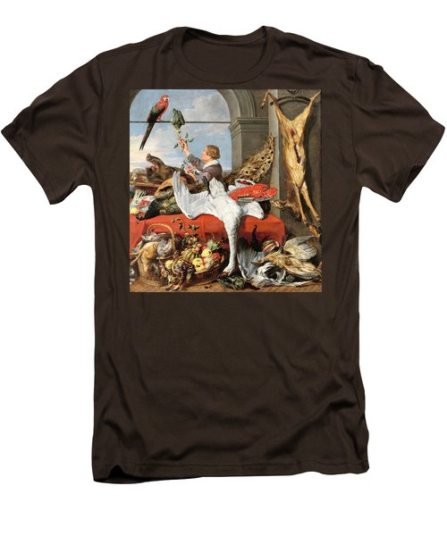 Interior Of An Office, Or Still Life With Game, Poultry And Fruit, C.1635 Oil On Canvas Men's T-Shirt (Slim Fit) by Frans Snyders or Snijders