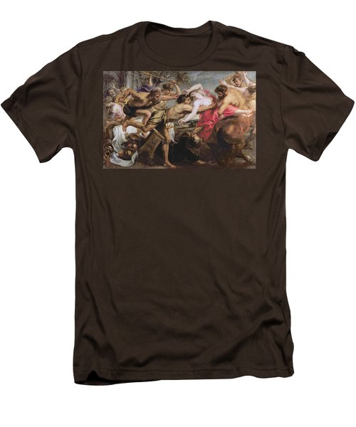 Lapiths And Centaurs Oil On Canvas Men's T-Shirt (Slim Fit) by Peter Paul Rubens