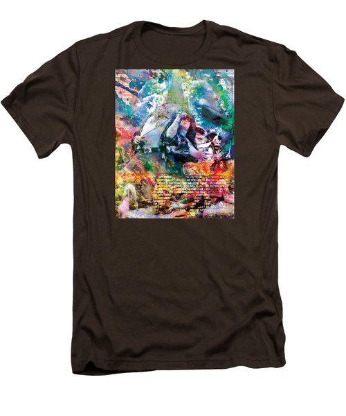 Led Zeppelin Original Painting Print  Men's T-Shirt (Slim Fit) by Ryan Rock Artist