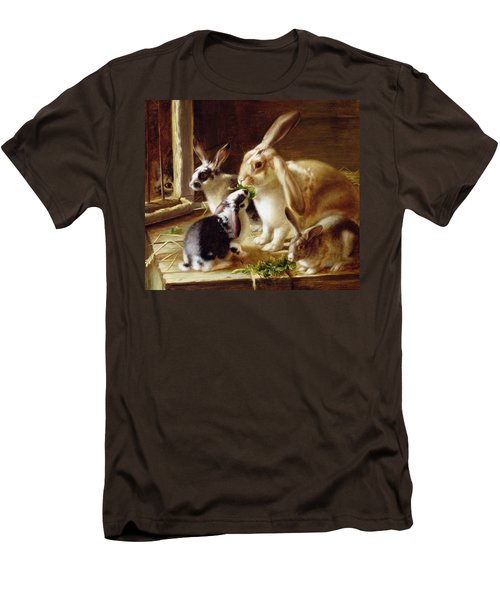 Long-eared Rabbits In A Cage Watched By A Cat Men's T-Shirt (Slim Fit) by Horatio Henry Couldery